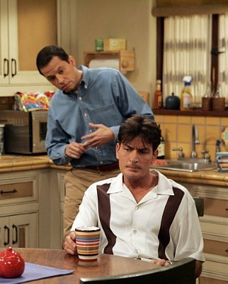 Two and a Half Men karatasi la kupamba ukuta containing a brasserie and a bistro titled Charlie and Alan Harper