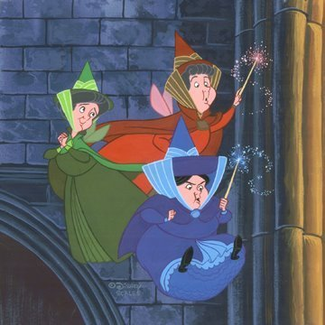 Fairy Fauna Flora and Merryweather cartoon Disney