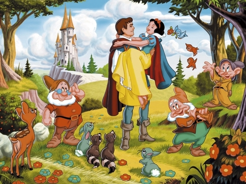 Classic Disney wallpaper containing anime entitled Snow White and the Seven Dwarfs Wallpaper