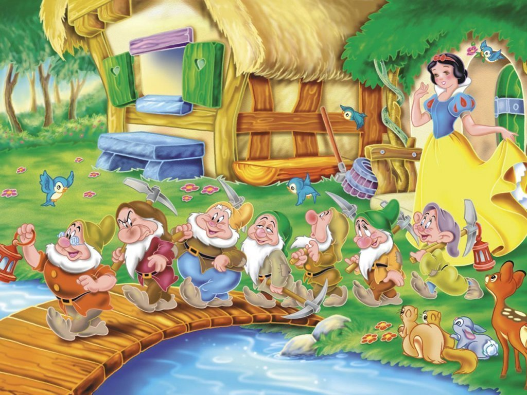 Snow White and the Seven Dwarfs kertas dinding
