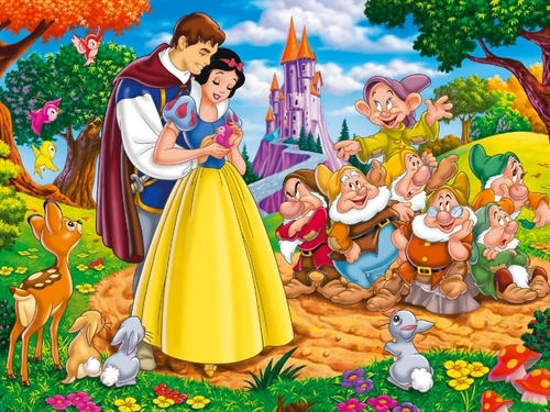 Snow White and the Seven Dwarfs wallpaper possibly containing a bouquet and anime entitled Snow White and the Seven Dwarfs Wallpaper