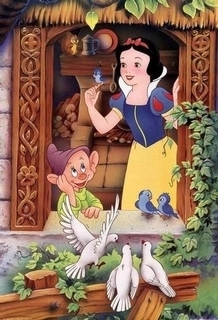 Snow White and the Seven Dwarfs achtergrond possibly with a stained glass window and anime entitled Snow White