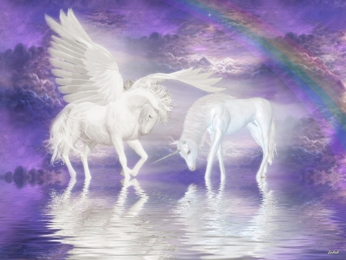 Unicorns wallpaper called Unicorn and Pegasus Wallpaper
