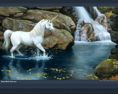 Unicorn By The Waterfall