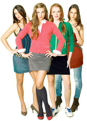 Pretty Little Liars wallpaper probably containing bare legs, hosiery, and a hip boot entitled All four girls