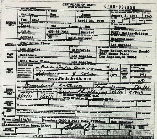 Carolyn Jones Death Certificat