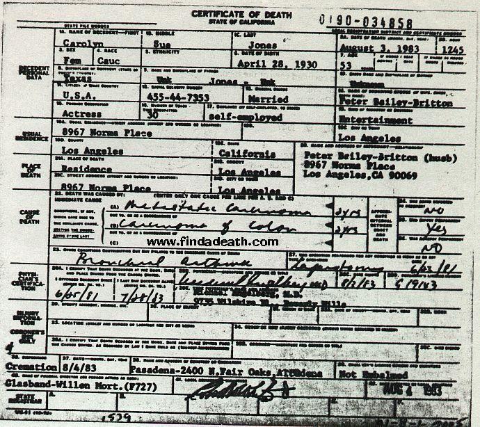 Carolyn Jones images Carolyn Jones Death Certificat ...