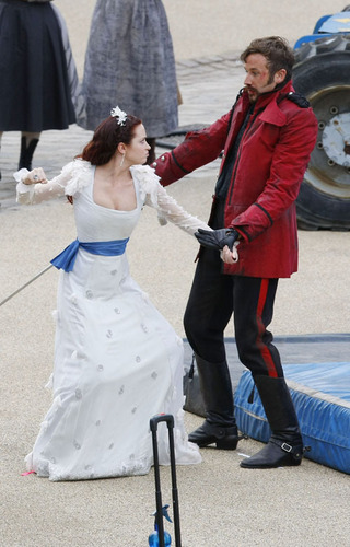 Emily on the set of Gulliver's Travels