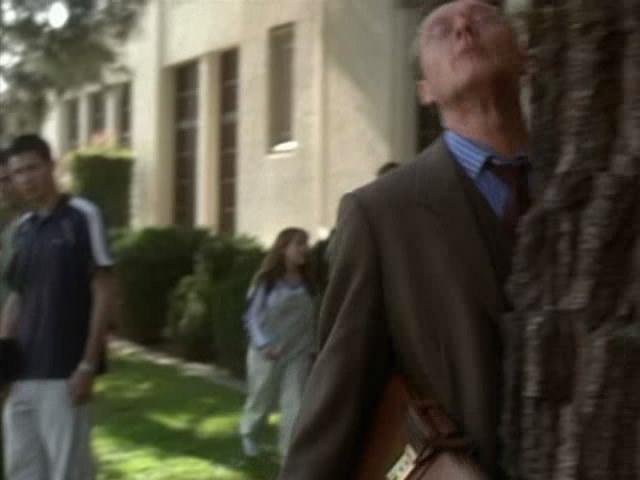 Giles bumping into a árbol