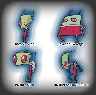 Invader Zim kertas dinding possibly with Anime titled Invader Skoo, Invader Skoodge, Invader Slant, Invader Sneakyonfoota