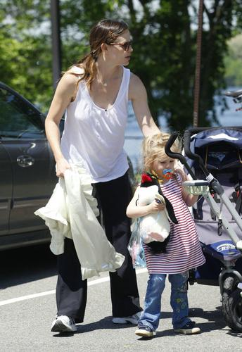 Jen and Ben take their daughters for a walk around a park in Boston - May 31 200