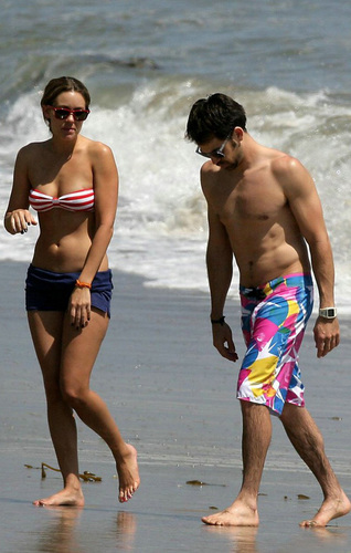 Celebrity Couples wallpaper probably with swimming trunks entitled Kyle Howard and Lauren Conrad