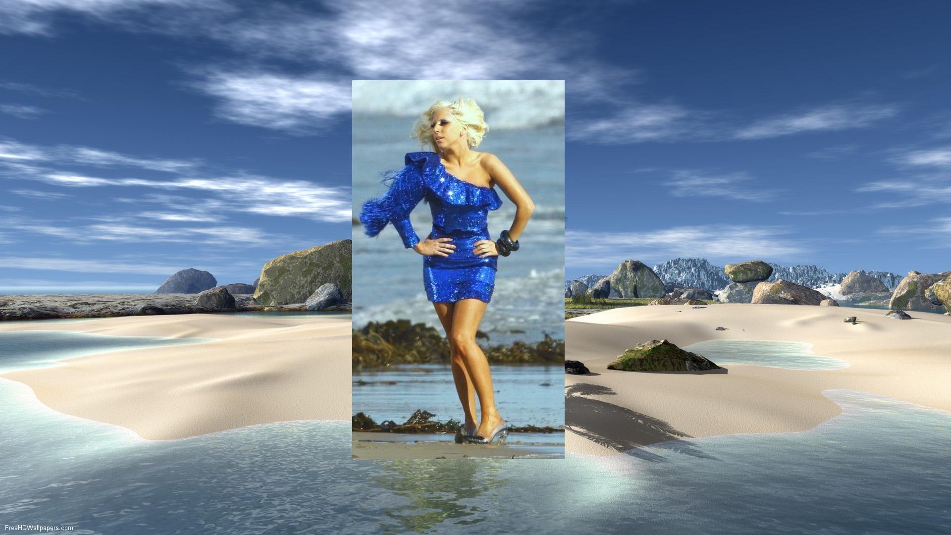 Lady Gaga Lady Gaga Blue+ Beach Larger Wallpaper