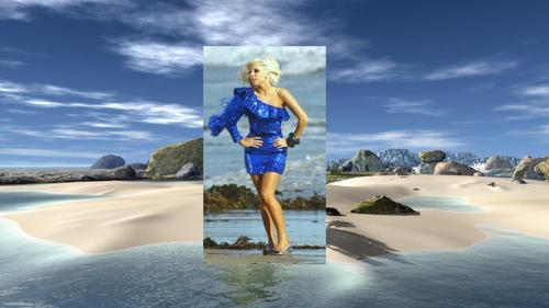 Lady Gaga Blue+ pantai Larger kertas dinding