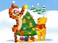 Winnie the Pooh Christmas achtergrond