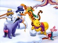 Winnie the Pooh Winter Fun karatasi la kupamba ukuta