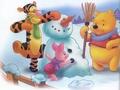 Winnie the Pooh Winter kertas dinding