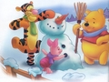 Winnie the Pooh Winter karatasi la kupamba ukuta