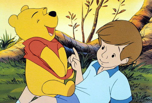 Winnie The Pooh kertas dinding containing Anime called Winnie the Pooh and Christopher Robin