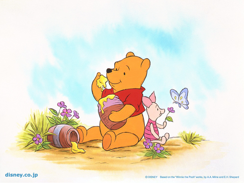 O Ursinho Puff wallpaper entitled Winnie the Pooh and Piglet wallpaper