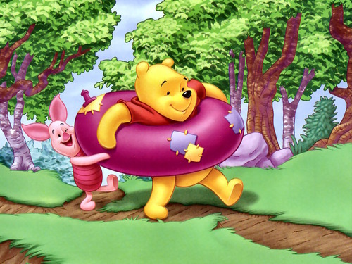 Winnie Pooh fondo de pantalla possibly with a bouquet titled Winnie the Pooh and Piglet fondo de pantalla