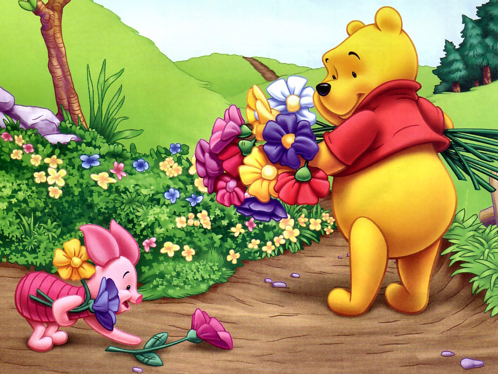Winnie the Pooh and Piglet Обои