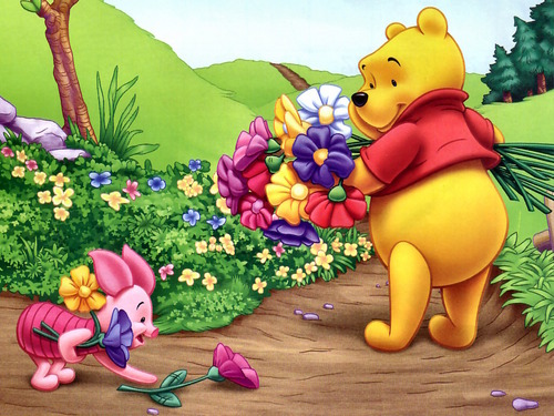 Winnie The Pooh kertas dinding containing a bouquet entitled Winnie the Pooh and Piglet kertas dinding