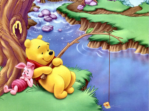 winnie the pooh wallpaper containing anime entitled Winnie the Pooh and Piglet wallpaper