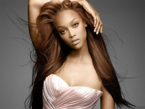 Tyra Banks wallpaper probably with a strapless, a cena dress, and a cocktail dress titled soft pose