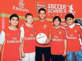 Cesc at Arsenal's football academy in Dubai