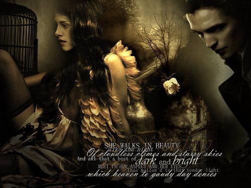 Twilight Saga Фильмы Обои possibly containing a sign and a улица, уличный titled Edward & Bella