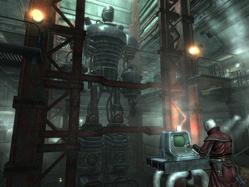 Fallout 3 壁纸 possibly containing a street, a diner, and a warehouse titled Liberty Prime about to disengage