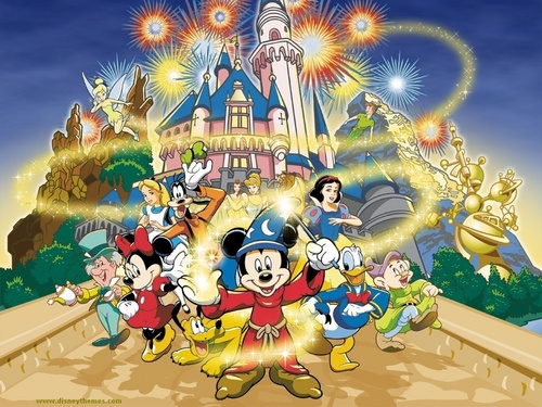 Disney wallpaper containing anime called Mickey Mouse and Friends Wallpaper