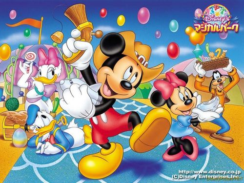 Disney wallpaper containing anime titled Mickey Mouse and Friends Wallpaper