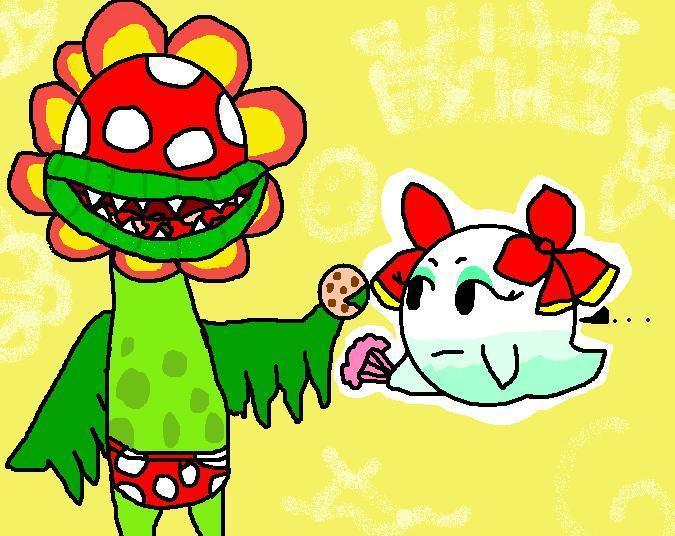 Petey Piranha giving Lady Bow a cookie