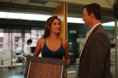 CSI:NY wolpeyper probably with a sign and a business suit called Stella & Mac