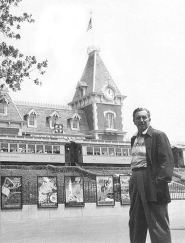 Walt Disney at Entrance to Disneyland