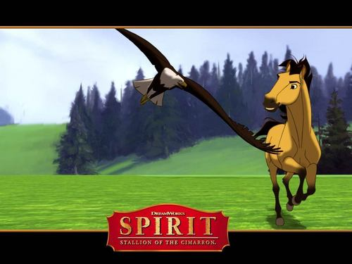 spirit and eagle - spirit-stallion-of-the-cimarron Wallpaper