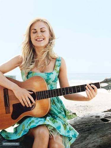 Anna Paquin wallpaper containing an acoustic guitar called Anna