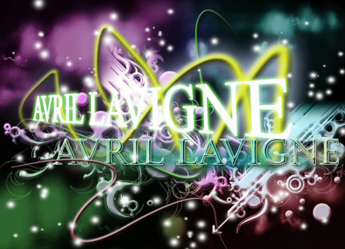 Photoshop wallpaper called Avril Lavigne name edit