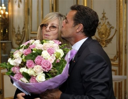 Barbra Streisand hình nền possibly with a bouquet and a bridesmaid entitled Barbra&Nicholas Sarkozy