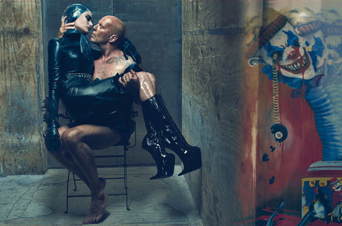 Bruce Willis wallpaper possibly with bare legs, a hip boot, and tights called Bruce Willis, & his wife Emma Hemming in the July 2009 issue of W Magazine