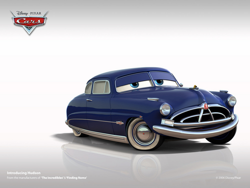 Disney Pixar Cars karatasi la kupamba ukuta possibly containing a sedan and a coupe called Doc Hudson