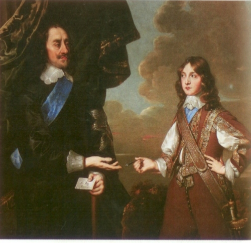 England's King Charles I and his son, James II