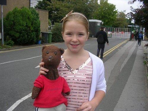 Lorna with a menanggung, bear