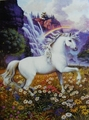 Unicorn in the marguerite, daisy Field