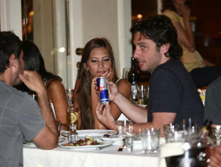 Zach Braff 바탕화면 probably with a 공식 만찬, 저녁 식사 table, a brasserie, and a 작은 레스토랑, 비스트로 entitled Zach in Israel