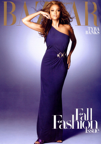 Tyra Banks wallpaper with a dinner dress and a gown titled bazaar cover