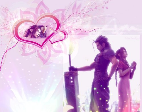 Final fantasy VII wallpaper entitled zack and aerith