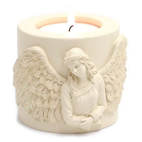 Angel Candle Holder With Candle